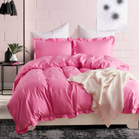 10 Colors Solid Ruffles Bedding Set Sanding Polyester Fabric Duvet Cover Sets King Size Bed Linen Soft Luxury for Adult Kids