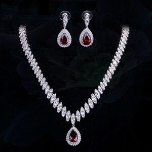 Image 4 - Collar y pendientes de boda de Zirconia cúbica de alta calidad, conjuntos de joyería de cristal de lujo para damas de honor