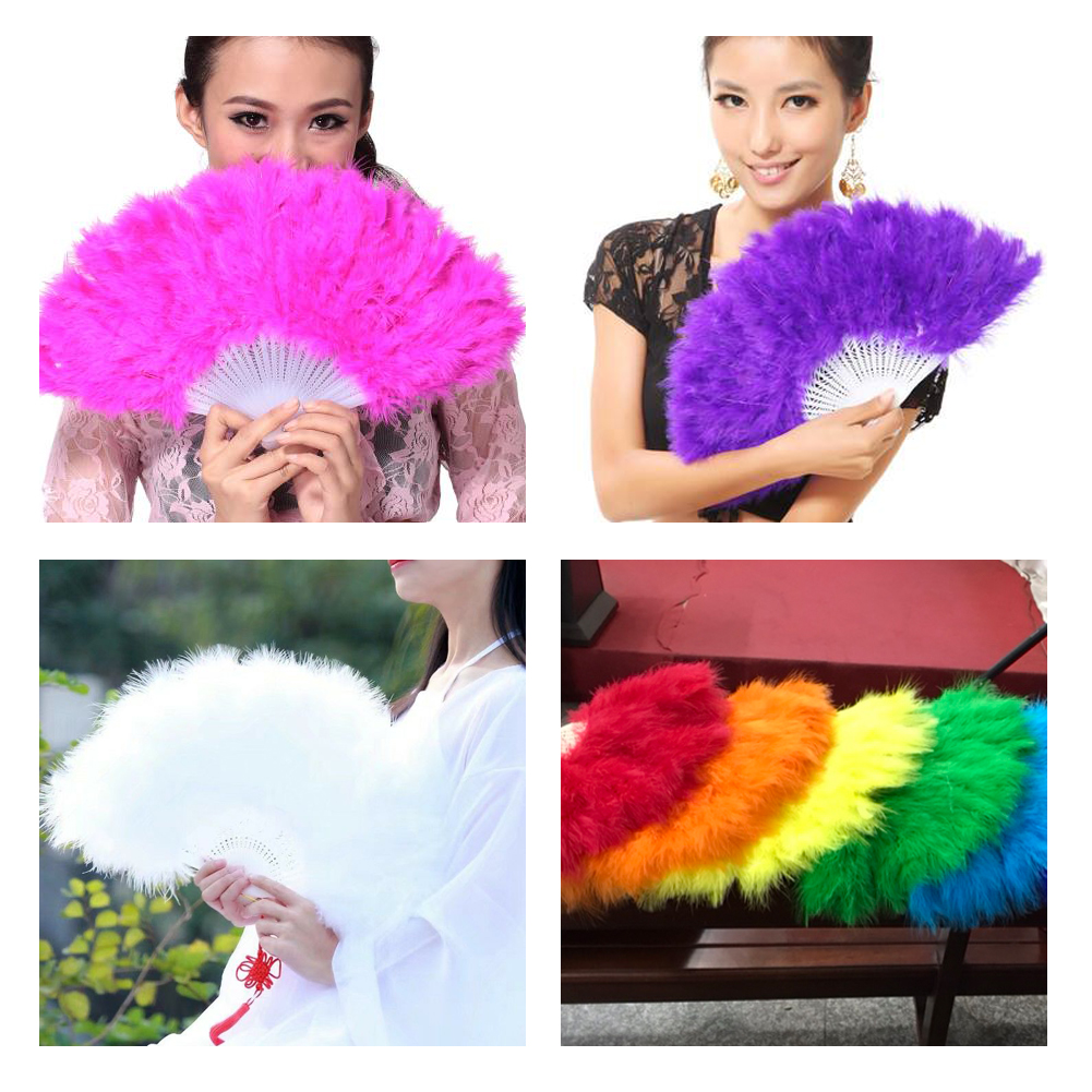 High Quality Feather Hand Fan Wedding Dance Vintage Folding Fan Elegant Large Feather Fashion Home Decoration Crafts 45 X 27 Cm