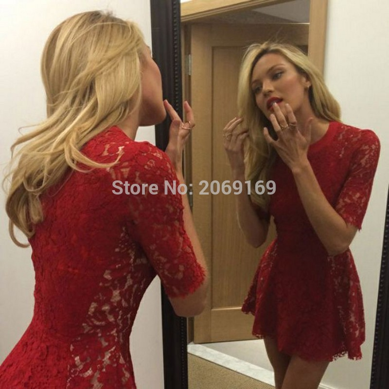 New Red Lace   Prom     Dresses   2019 O-Neck Above Knee Length Half Sleeves   Prom   Gowns Vestidos De Noche Free Shipping
