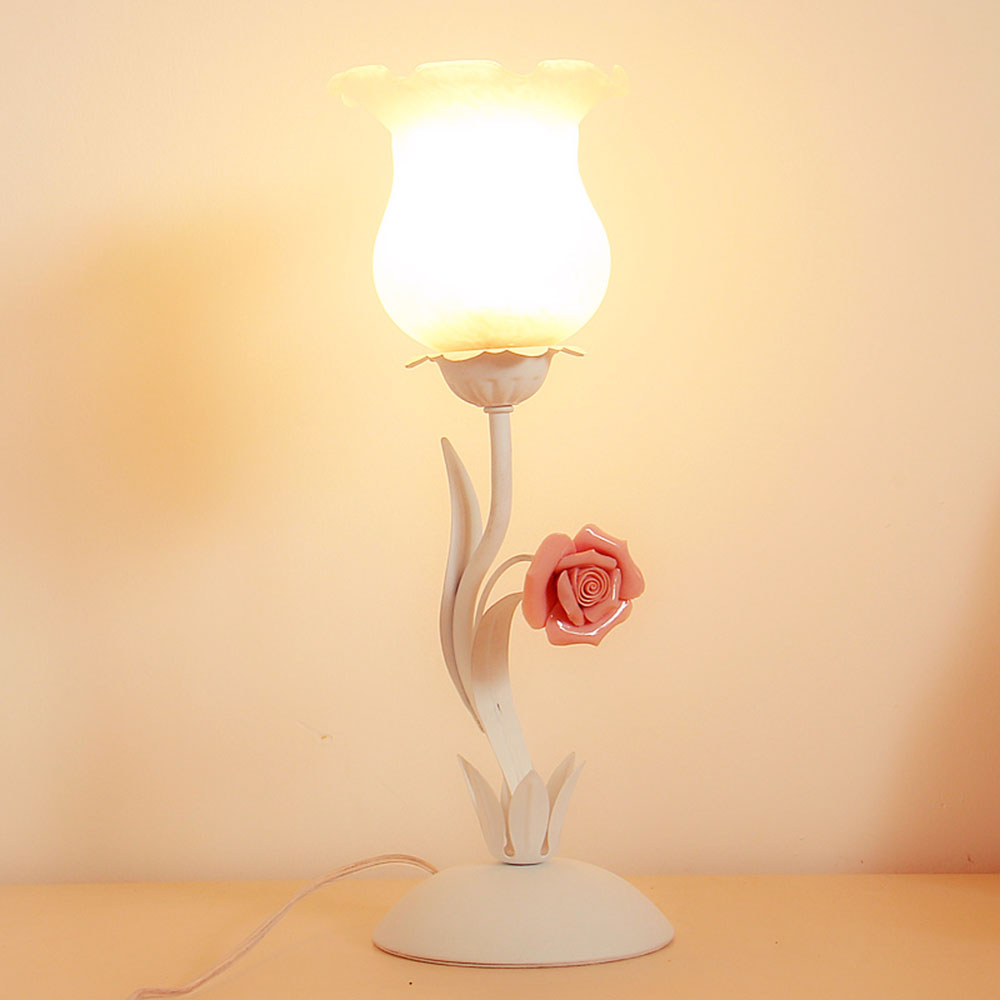 Flower Desk Lamp E27 Green Touch Desk Light Study 110-220v Touch Switch Button Contemporary Table Lamps Luminarias read room led lamp e27 table lamps study mini touch switch 110 220v contemporary green cloth desk lights luminaria