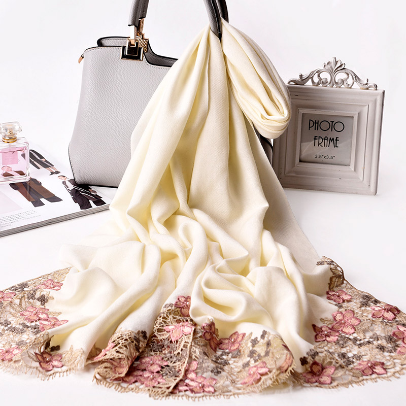 Ladies 100% Wool Scarves Women Luxury Shawls And Wraps For Wedding Festive Winter Shawl Pashimina Bride Embroidered Scarf Wool