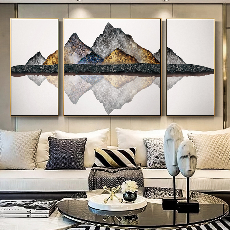 Posters and Prints Wall Art Canvas Painting 3Pcs Abstract Igneous Rock Mountain Pictures for Living Room Home Decor No Frame in Painting Calligraphy from Home Garden