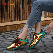 New Women Sequin PU Sneakers Flat Denim Casual Shoes Trainers Stars Ladies Rubber Sole Walking