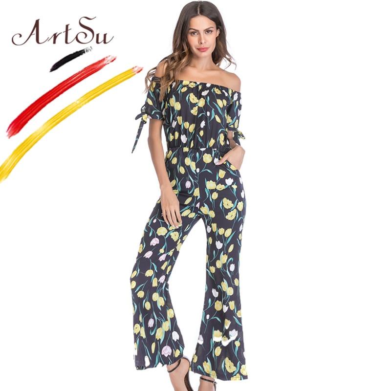 ArtSu Summer Beach Boho Casual Off Shoulder Short Sleeve Chiffon Wide Leg Rompers Womens Jumpsuit Floral Print Combinaison Femme