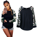 Fashion Women Long Sleeve Shirt Slim Casual Camouflage Print Tops T Shirt