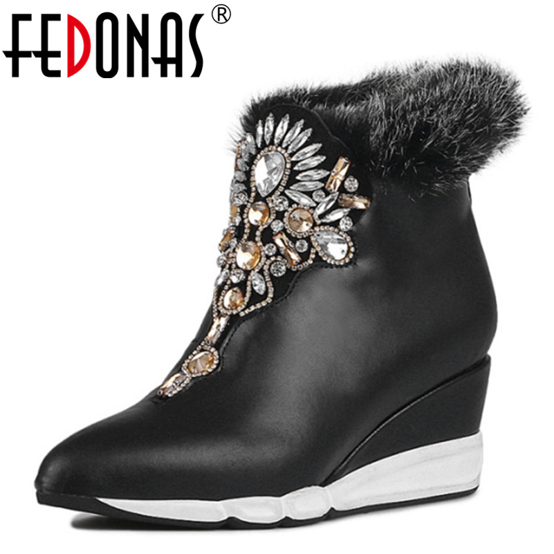 FEDONAS 2017 Fashion Women Winter Warm Snow Boots Wedges High Heels Rhinestone Shoes Woman Wedges Genuine Leather Ankle Boots