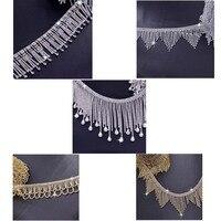 1 Yard Handgemaakte naaien kwastje trim bridal sash crystal silver clear rhinestone applicaties voor trouwjurken riem DIY naai