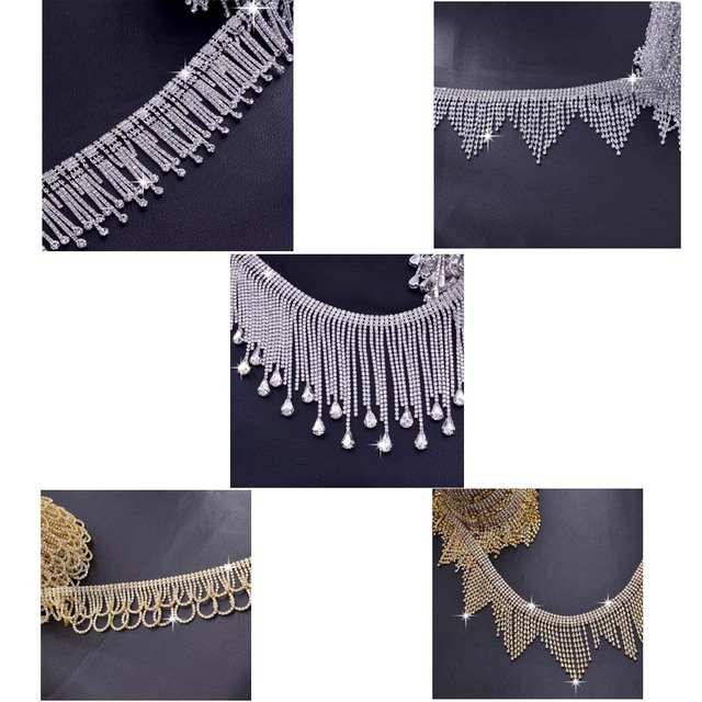 1Yard Handmade sewing tassel fringe trimming bridal crystal clear rhinestone  patch appliques for wedding dress belt 70f4ab594982