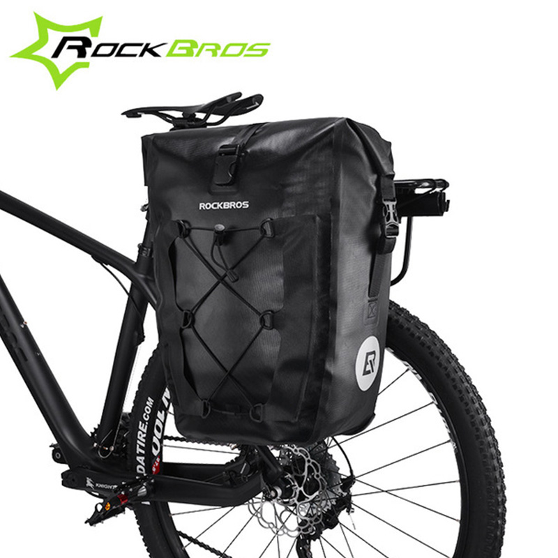 цена на ROCKBROS Waterproof Bicycle Bag 27L Travel Cycling Bike Bag Rear Rack Tail Seat Trunk Bags Pannier MTB Mountain Bike Accessories