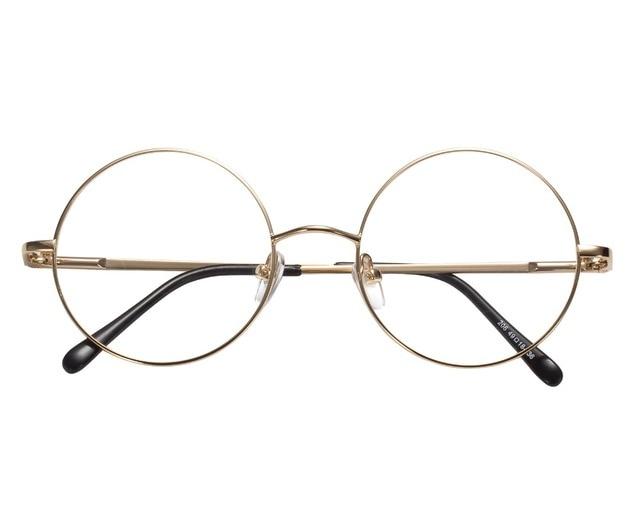 b29d61531eaf3d 49mm Taille Rétro Vintage Lunettes Cadre Lunettes Harry Potter Style Ronde  Montures de lunettes Noir Or