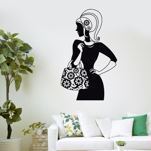 Bag store vinyl wall decal shopping girl fashion women beauty salon wall sticker clothing store window