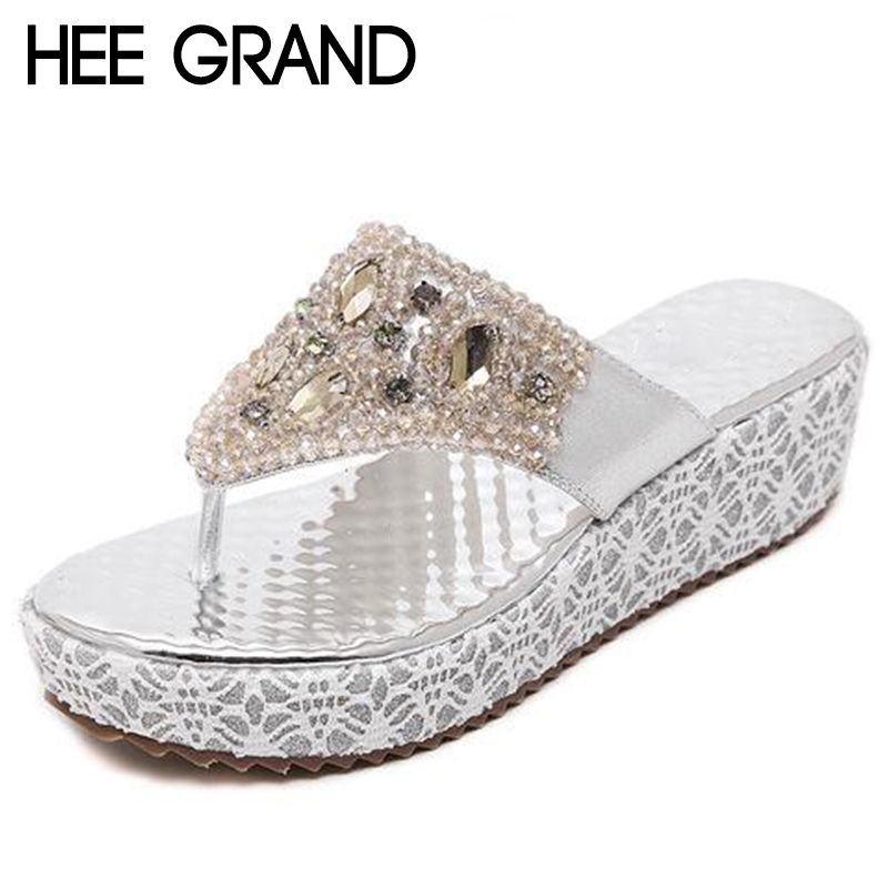 HEE GRAND Women Flip Flops Causal Slip on BlingVamp Woman Fashion Slippers Women Shoes XWZ4647 hee grand 2017 new gladiator sandals gold silver shoes woman summer flip flops slip on creepers casual women shoes xwz3847