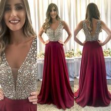 Luxury Sparkly Crystals Beaded Sequins A Line Evening Dresses 2019 Sexy V Neck Backless Formal Party Gowns Long Prom