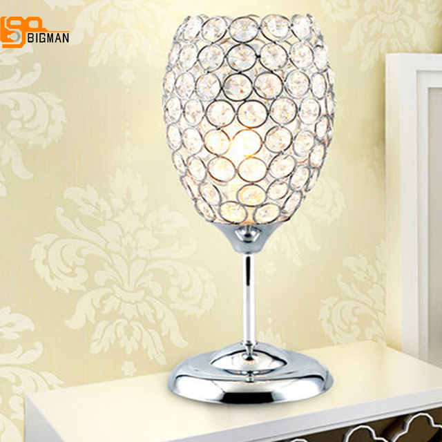 New design creative table lamp modern crystal table light chrome gold beside lamp home lighting