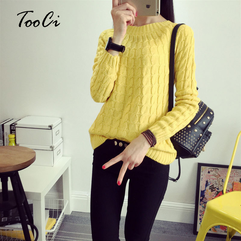 Fashion Casual 9 Colours Women Sweater Pullovers Long Sleeve O Neck Twist Knitted Sweater