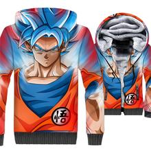 цена HAMPSON LANQE  Anime Dragon Ball Z Super Saiyan printed 3D Hoodies Men 2019 Winter Fleece Thick Sweatshirts Plus Size Jackets