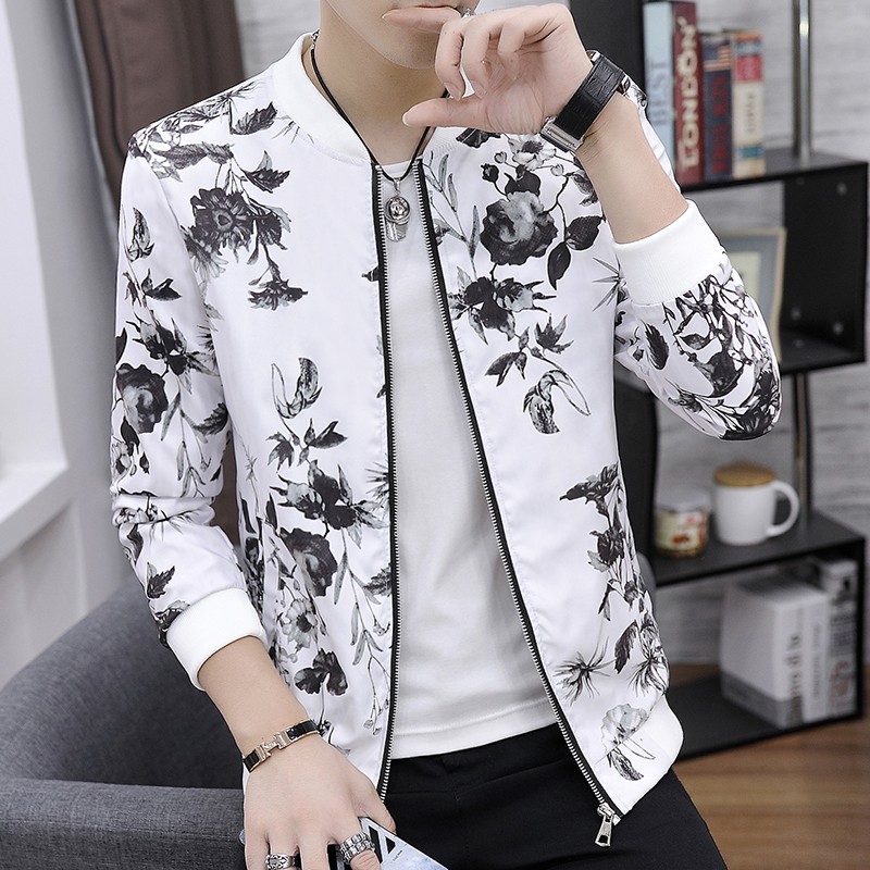 Floral Print Jacket Coat Men 2019 Summer Autumn Thin Windbreaker Plus Size 5XL Quality Brand Clothing Fancy Bomber Jacket Male