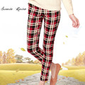 2015 new Fashion Retro Plaid pants women casual capris pants S-2XL