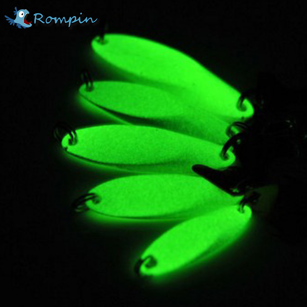 Rompin Luminous Fishing Lures artificial bait lure metal lure treble hook Baits 7g 10g 14g jig wobbler lure fishing tackle trulinoya carp fishing lure minnow lures bait artificial 88mm 7 2g 3d eyes treble hook hard bait two segments fishing tackle