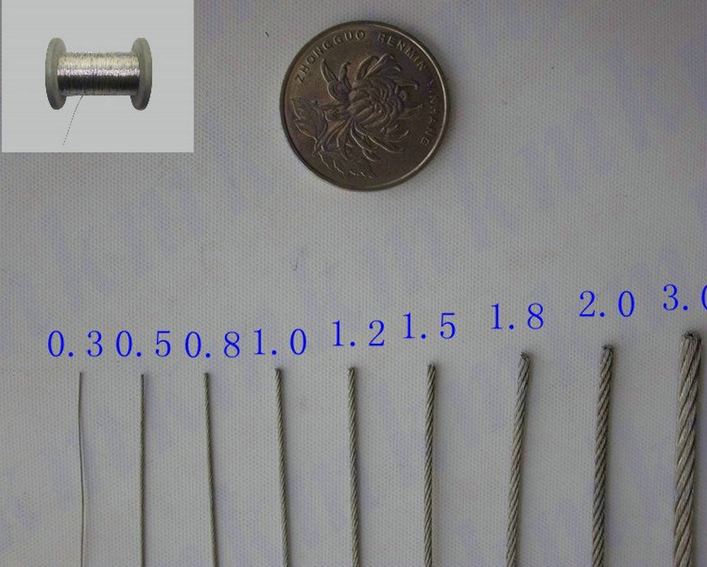 100M/Roll AISI 316 Stainless Steel Wire Rope 7X7 Structure 0.8MM Diameter 3mm 7 7 stainless steel 316 wire rope 7x7 strand core seaworthy marine grade