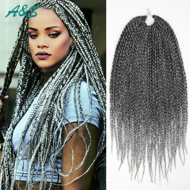 Rihanna Hairstyle Crochet Braids Hair Extension Thin Box Color 1 Silver Braiding