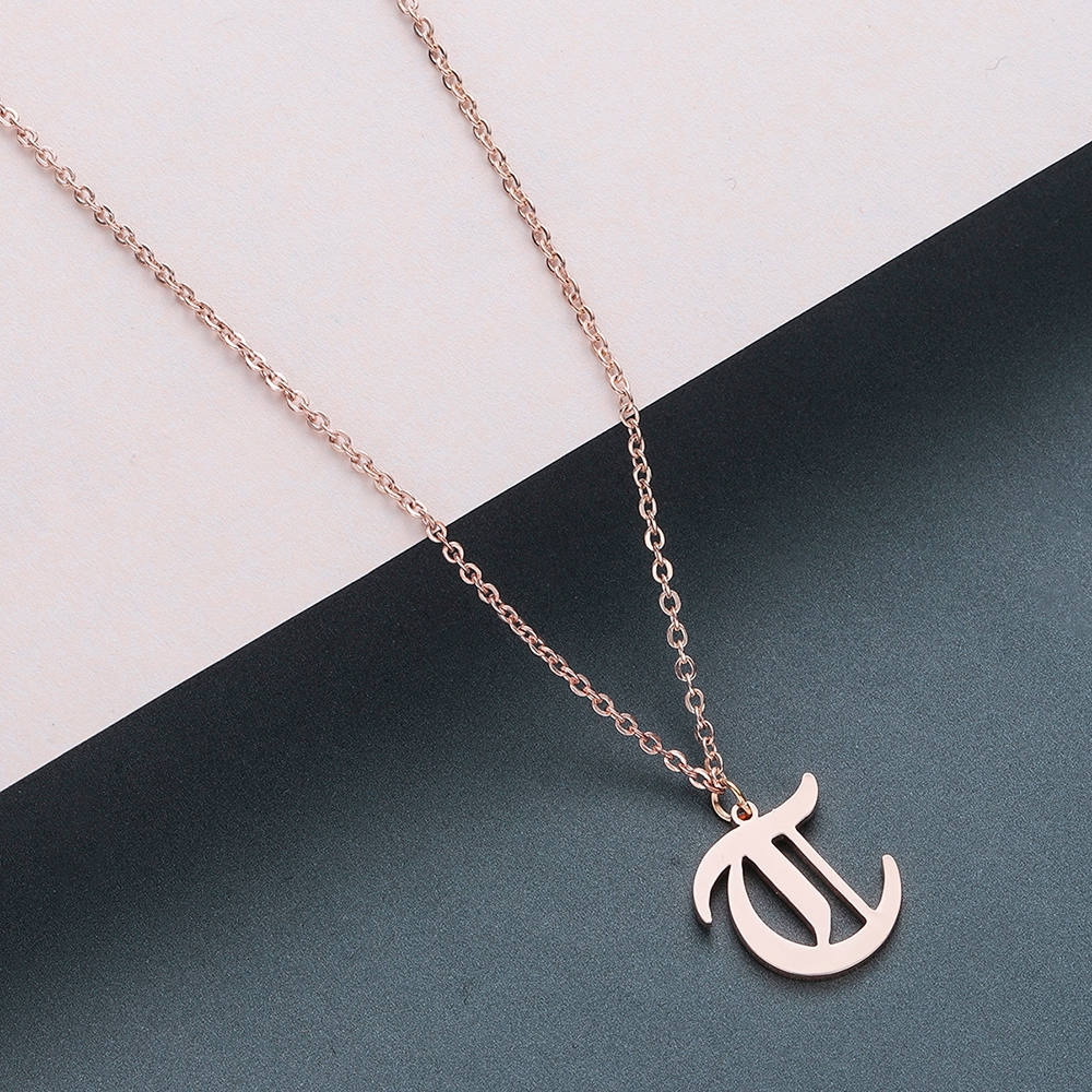 Todorova Old English Custom Capital Initial A-Z Letter Pendant Necklace Men Vintage Font Personalized Necklace Women Jewelry 60