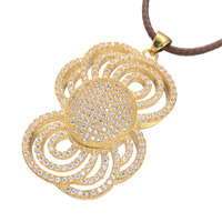 Gold / White Gold High Quality Low Price Micro Pave Hollow Large Flowers Copper Zircon Fashion Ladies Necklace Charm Jewelry