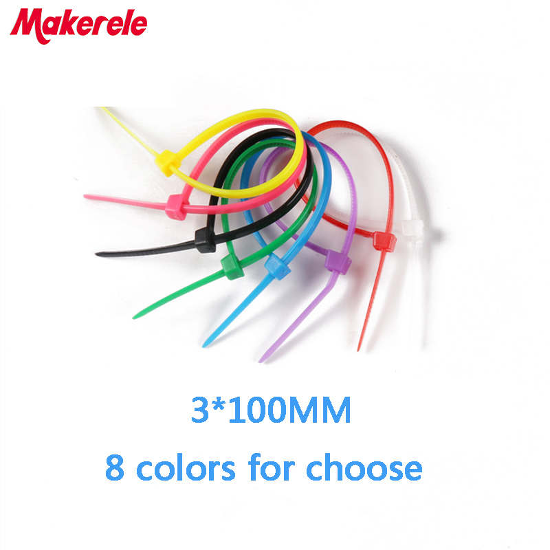 Free shipping 3*100 mm Colorful nylon cable ties cable wire tie plastic tie zip ties 100PCS/Bag and 8 colors for choose