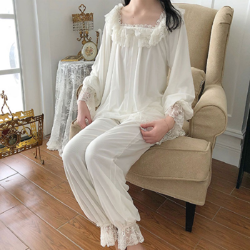 Soft Velvet Women's   Pajamas     Sets   Autumn Winter Vintage White Lace Long Sleeve Sleepwear Female Sweet Pyjamas Home Wear 2221