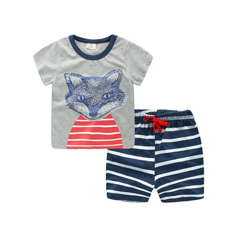 2 шт. для маленьких мальчиков милые хлопковые Детские костюмы детская одежда для малышей мальчиков летние шорты рукавом Костюмы комплекты