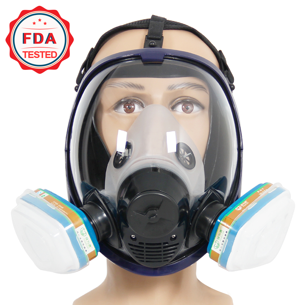 2 in 1 Function 7 Pcs Suit 6800 Painting Spraying Full Face Respirator Gas Mask Breather FDA Tested 9 in 1 suit gas mask half face respirator painting spraying for 3 m 7502 n95 6001cn dust gas mask respirator