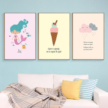 Nordic Stijl Kids Girl Poster Cartoon Mermaid Ice Cream Cloud Canvas Wall Art Prints Nursery Pictures for Baby Room Decoration