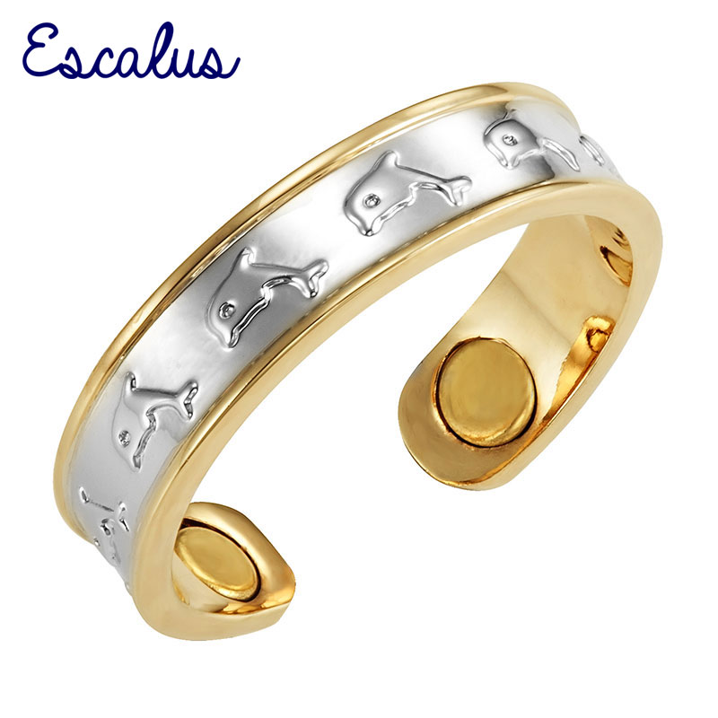 Escalus Ladies 2-Tone Silver Gold Plating Women Magnetic Copper Ring Dolphin Resizable 2017 Jewelry Charm Finger Wear