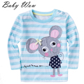 Kids T Shirt Autumn Small Mouse Cartoon Long Sleeve Baby Girls T-Shirt Children Pullovers Striped Tee Children Clothes tyh-20505