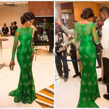 2019 newest Tulle lace Long sleeves evening dress with emerald green prom dresses mermaid celebrity gowns