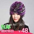 Venta caliente de piel de conejo rex pelo espiral de la mujer sombrero caliente hecho punto sombrero