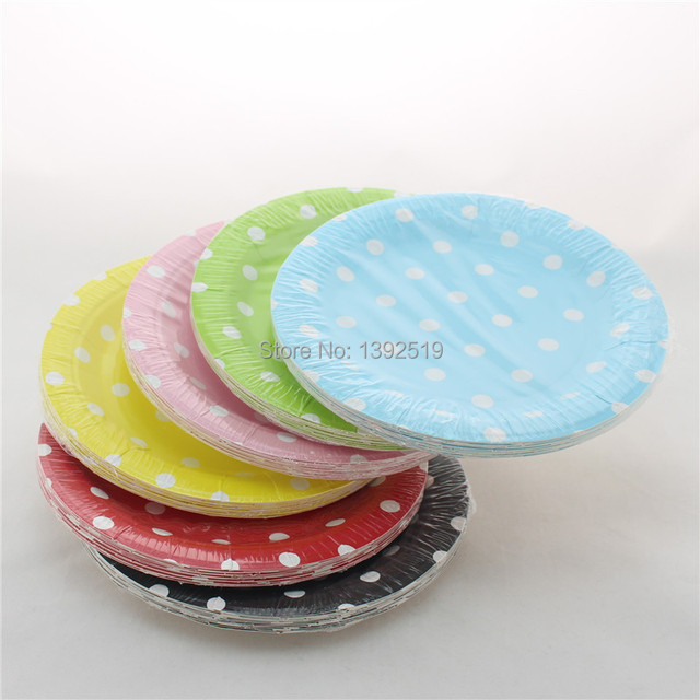 Free Shipping 240pcs 7\  small Round Paper Plates Polka Dot Plates Baby Pink Yellow Green : pink and black paper plates - pezcame.com