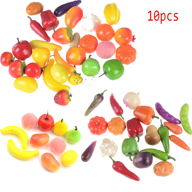 Hot Sale 10pcs/lot Pretend Play Toys Kitchen Toys Foam Mini Simulation Artificial Fruits and Vegetables for Children Doll House