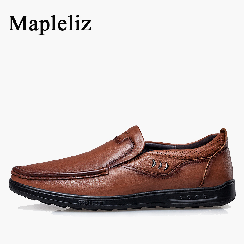 Mapleliz Brand Fashion Soft Slip-On Moccasins Men Loafers Cow Leather High Quality Summer Breathable Driving Flats Shoes купить