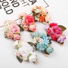 AHB Fashion Artificial Flowers Nylon Headband for Baby Girl Elastic Hairband Head Wrap Photography Props Floral Kids Headwear