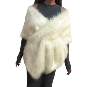 Image 2 - MIARHB Women Scarf Faux Fox Fur Long Shawl Wrap Shrug Scarf Pashmina Bridal Wedding Winter Thick Warm stola echarpe hiver femme