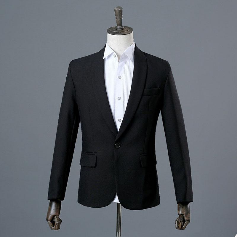 Erkek Kıyafeti'ten T. Elbise'de 2018 Moda Siyah ve Beyaz Şal Yaka Iki Parça Ceket Pantolon Takım Elbise Ince Akşam Parti Sahne Gösterisi Performans Erkekler balo Elbiseleri'da  Grup 2