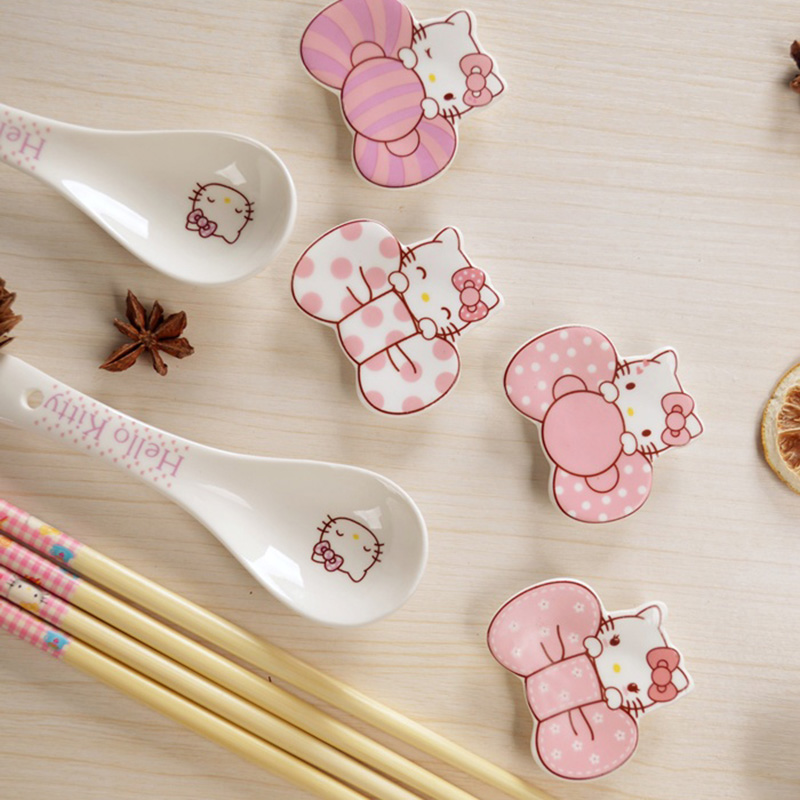 Keythemelife 1pcs Chopstick Rack Hello kitty/Doraemon Ceramic Ware Porcelain Spoons Fork Chopsticks Holder Dinnerware 2C