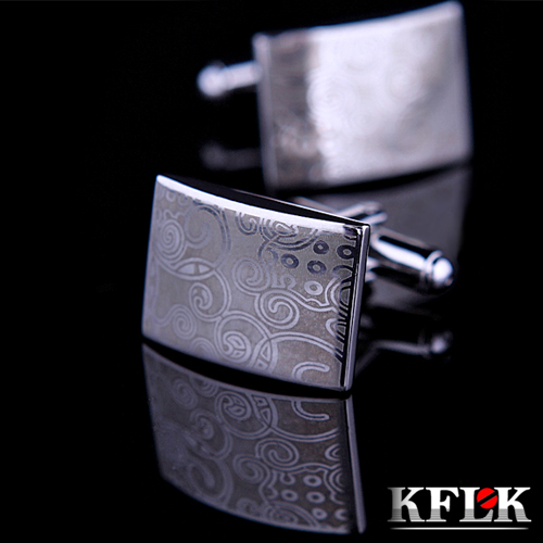 KFLK Luxury Laser pattern gemelos shirt cufflinks for mens Brand cuff buttons cuff links High Quality Silver abotoaduras Jewelry