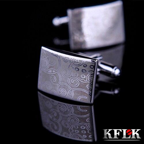 KFLK Luxury Laser pattern gemelos shirt cufflinks for mens Brand cuff buttons cuff links High Quality Silver abotoaduras Jewelry
