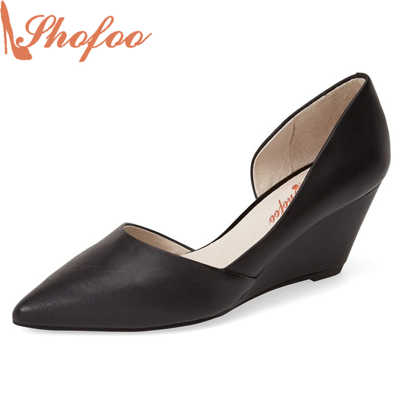 Shofoo Classics Women Pointed Toe Wedges Heels Pumps Dress&Career&Wedding For Woman Slip-on Casual Shoes,Large Size 4-16. электросушилка для рук stiebel eltron htt 4 ws