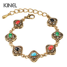 Kinel Brand Vintage Jewelry 2016 Fashion Bohemia Style Retro Resin Multicolor Charm Love Cuff Women Bracelets & Bangles 2017 New(China)