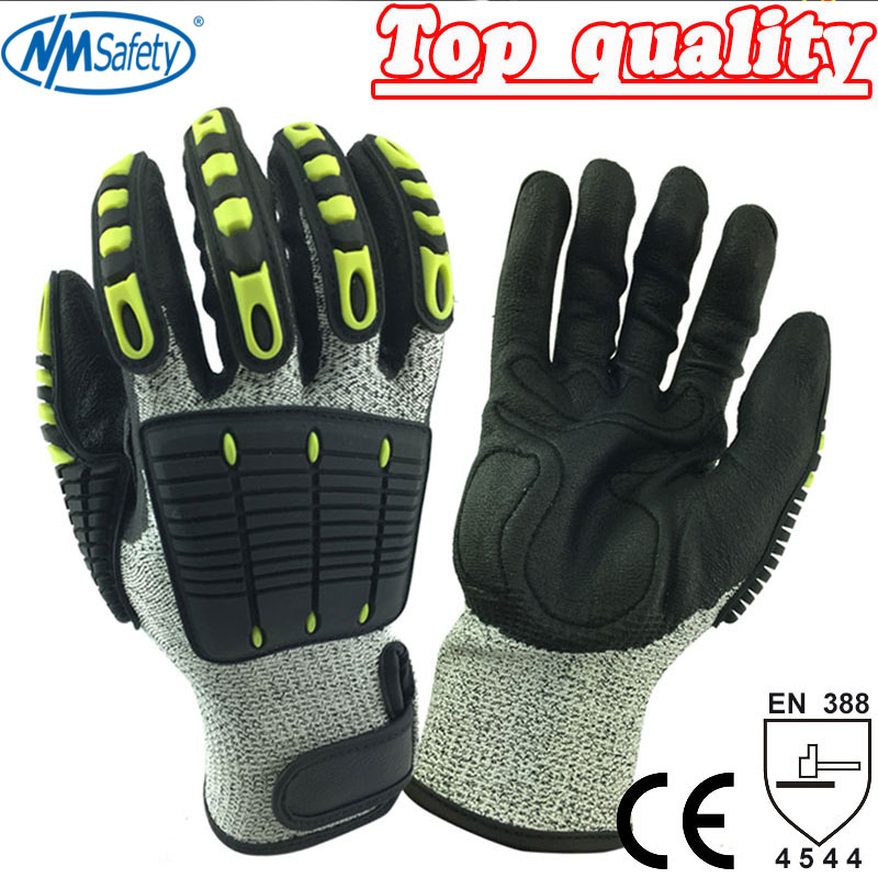 NMSafety Anti Vibration Oil and Gas Safety Glove Fluorescent Nylon Shock Absorbing Mechanics Impact Resistant Work Glove water absorbing oil absorbing cleaning cloth