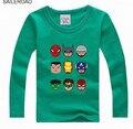 Capitán América de Los Niños del Muchacho de Manga Larga Camisetas Niño Camiseta del bebé camisas de La Venta Caliente Niños Camisetas de Las Muchachas de 18 M A 13 Años SAILEROAD